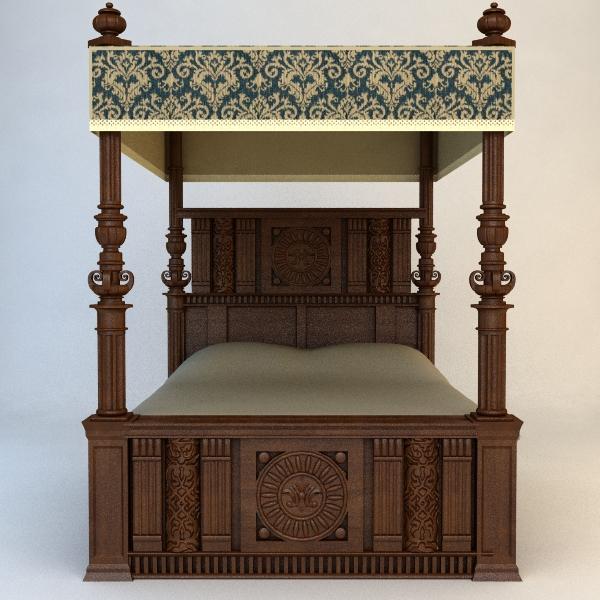 antique canopy bed 3d model 3ds max fbx texture obj 114868