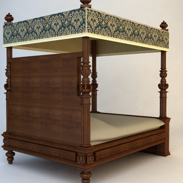 antique canopy bed 3d model 3ds max fbx texture obj 114870