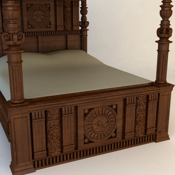 antique canopy bed 3d model 3ds max fbx texture obj 114871