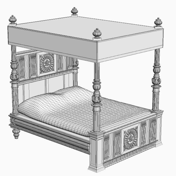 antique canopy bed 3d model 3ds max fbx texture obj 114872