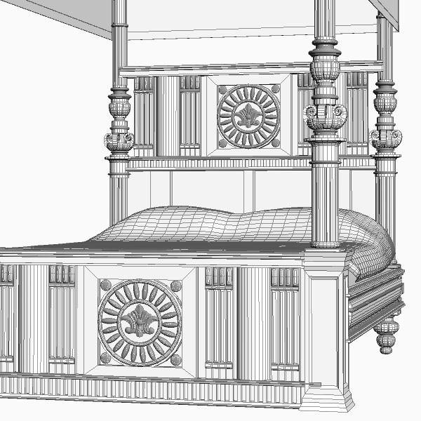 antique canopy bed 3d model 3ds max fbx texture obj 114873