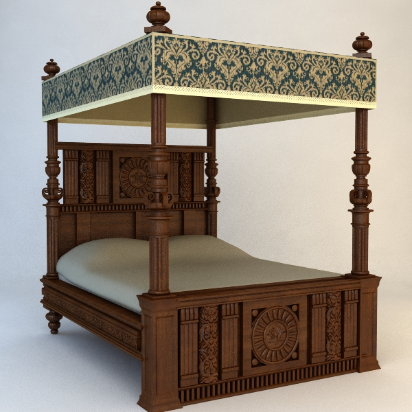 Antique Canopy Bed Model Bedroom Ornate Max Fbx Obj Ar Vr