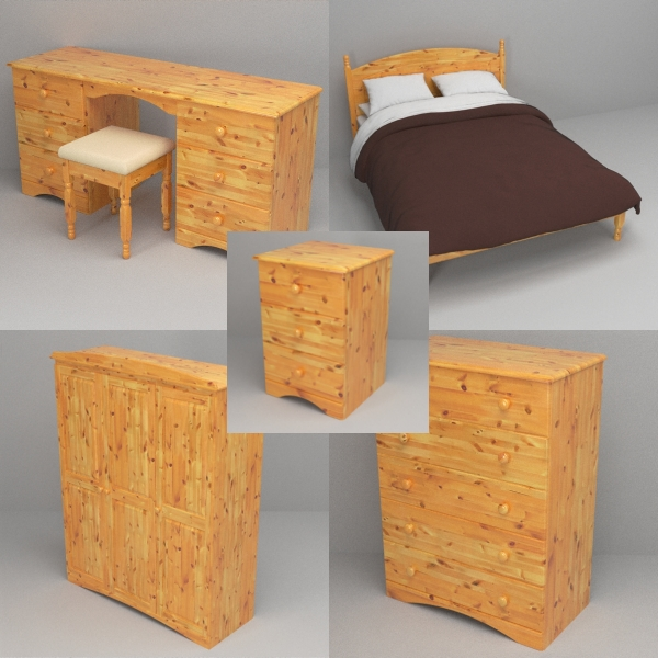pine bedroom furniture 3d model 3ds fbx skp obj 117538