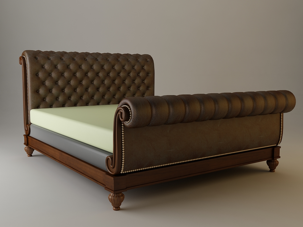 sleigh bed detailed 3d model 3ds max fbx texture 114856