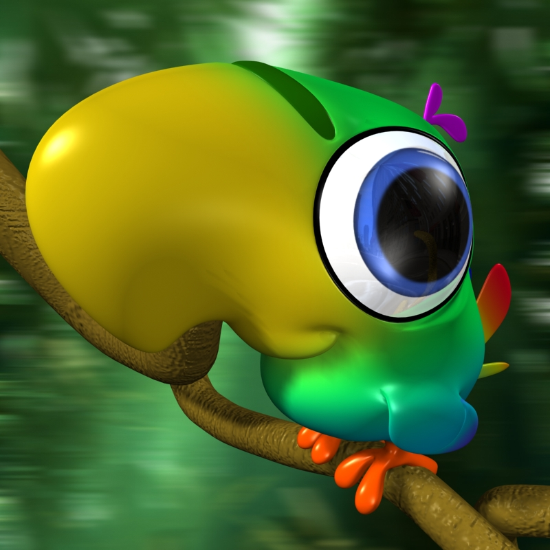 cartoon parrot rigged 3d model 129178