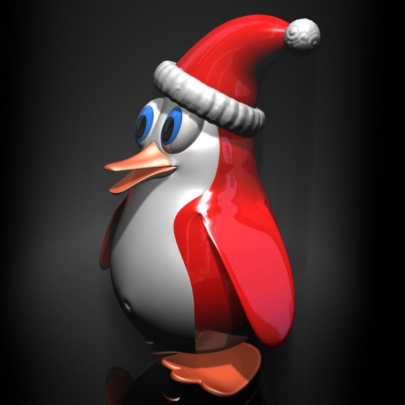 Božićni pingvin namješteni 3d model 3ds max fbx obj 122686