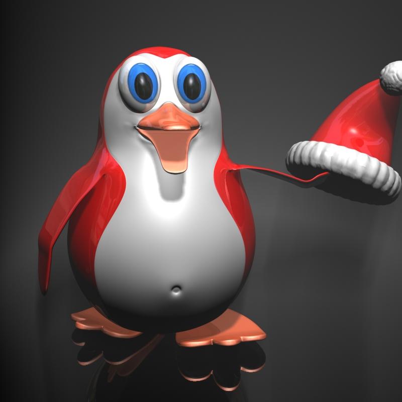 Božićni pingvin namješteni 3d model 3ds max fbx obj 122688