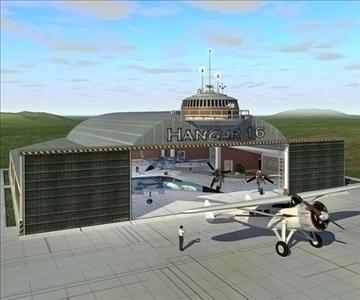 flugvél hangar 3d líkan 3ds hámark c4d lwo obj 82259