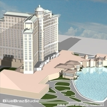 bellagio hotel las vegas 3d model 3ds dxf c4d obj 97290