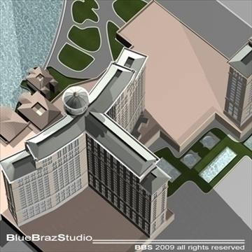bellagio hotel las vegas 3d model 3ds dxf c4d obj 97293