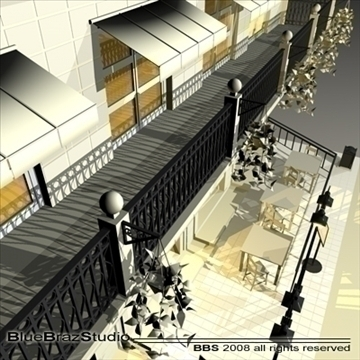 cafe restaurant facade 3d model 3ds dxf c4d obj 93207