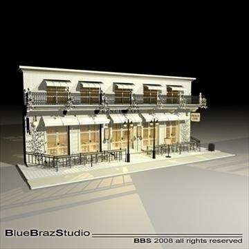 cafe restaurant facade 3d model 3ds dxf c4d obj 93208