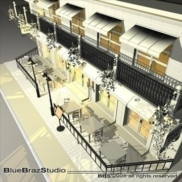 cafe restaurant facade 3d model 3ds dxf c4d obj 93209