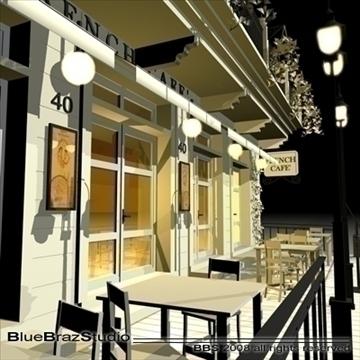 cafe restaurant facade 3d model 3ds dxf c4d obj 93210