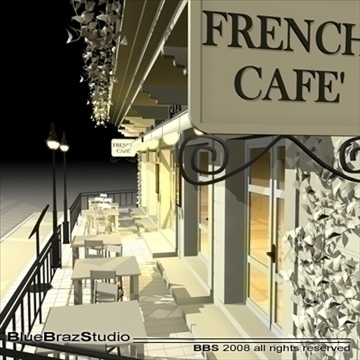 cafe restaurant facade 3d model 3ds dxf c4d obj 93211