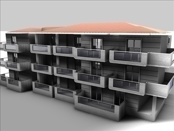 condominium building 3d model 3ds c4d texture 85082