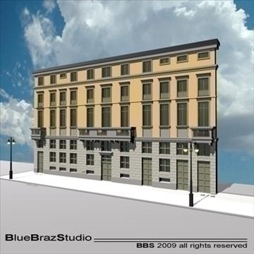 european building facade 3d model 3ds dxf c4d obj 98237