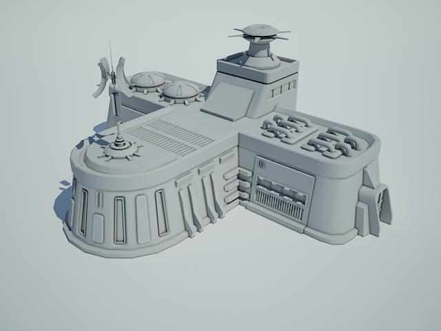 futuristic sci fi building 8 3d model 3ds max fbx obj 113609