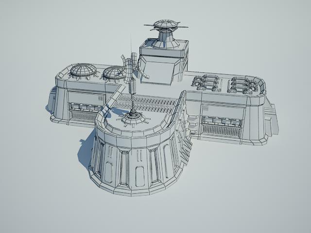 futuristic sci fi building 8 3d model 3ds max fbx obj 113613