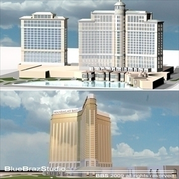 las vegas mandalay bay bellagio hotels 3d model 3ds dxf c4d obj 97295
