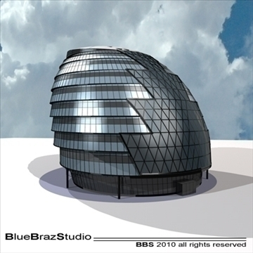 london city hall 3d model 3ds dxf c4d obj 102599