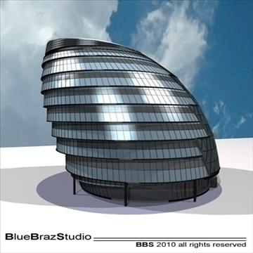 london city hall 3d model 3ds dxf c4d obj 102601