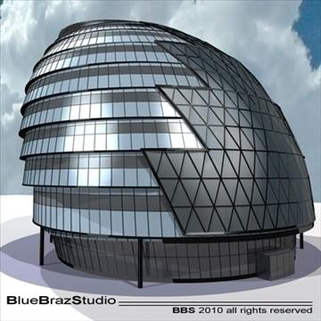 london city hall 3d model 3ds dxf c4d obj 102602