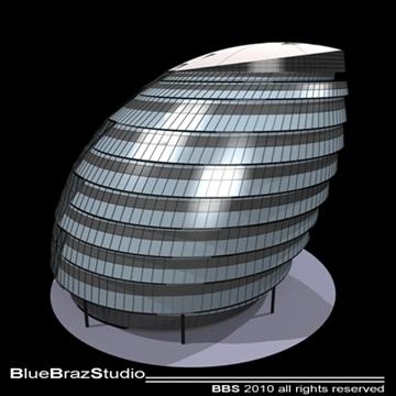 london city hall 3d model 3ds dxf c4d obj 102605