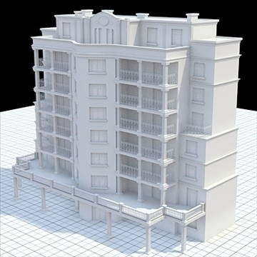 modern highly detailed tenement house 3d model lwo lxo obj 104719