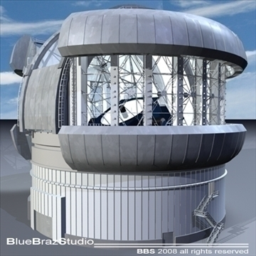 observatory with telescope 3d model 3ds dxf c4d obj 94163
