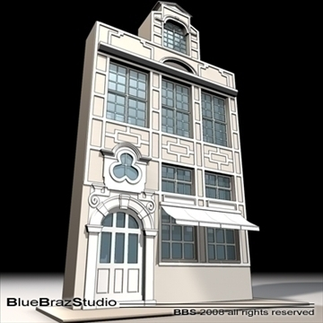old style facade 3d model 3ds dxf c4d obj 109915