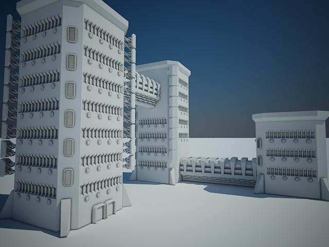 Sci-fi building11 3d model max fbx obj 116296