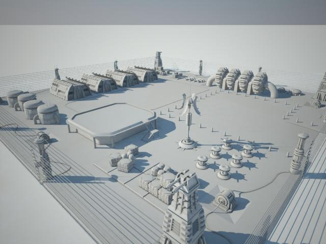scifi military base 3d model 3ds max fbx obj 118332