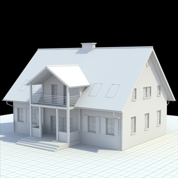 single family house 3d model 3ds blend lwo lxo obj 100027