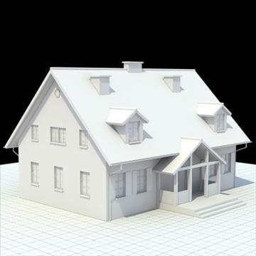 single family house 3d model 3ds blend lwo lxo obj 100028