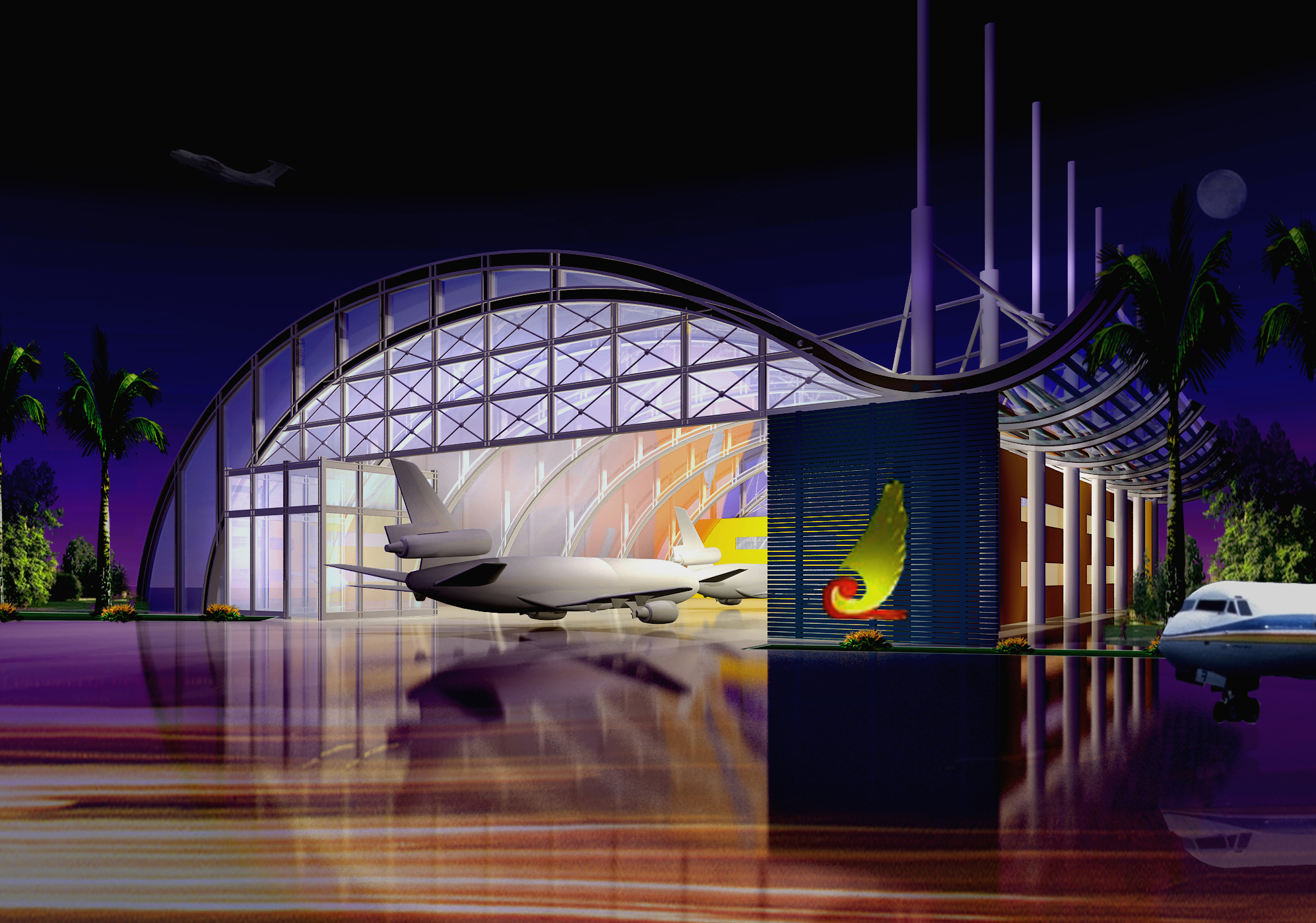 airport night 3d model max 98299