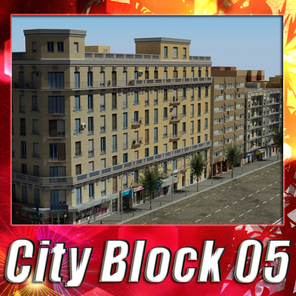 city block 05 3d model 3ds max fbx texture obj 158053