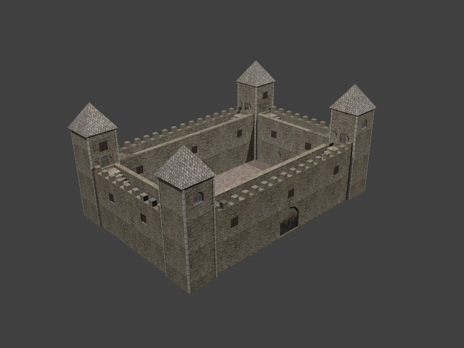 fortress low poly 3d model 3ds 164096