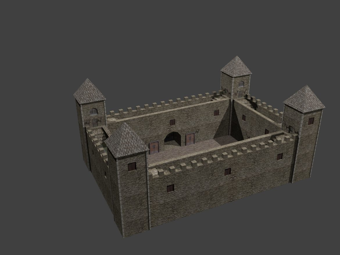 fortress low poly 3d model 3ds 164099