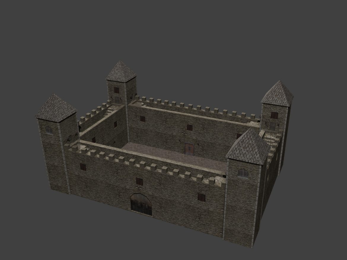 fortress low poly 3d model 3ds 164100