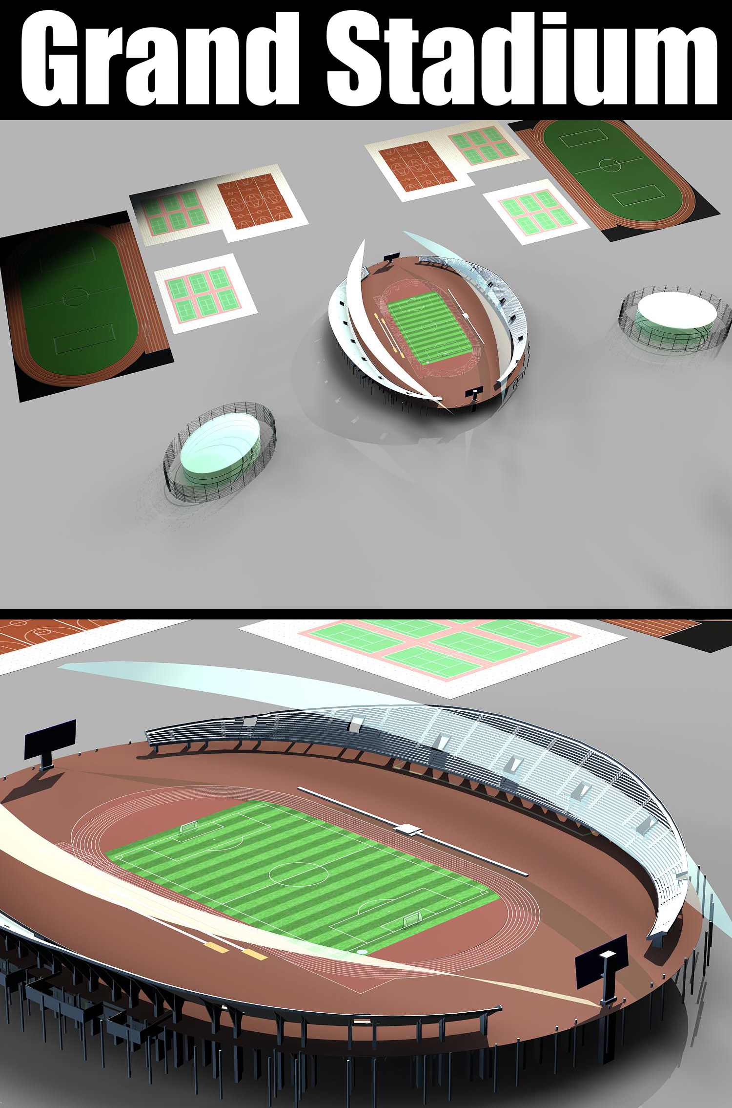 grand stadium 007 3d model 3ds max obj 98275