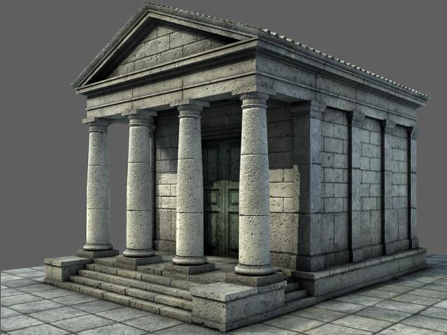 low mid poly roman temple 1 3d model 3ds dxf fbx c4d texture obj 98341