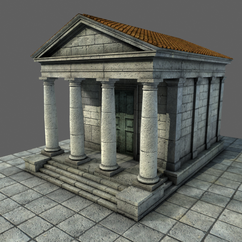 Low Mid Poly Roman Temple 1 3d Model Buy Low Mid Poly