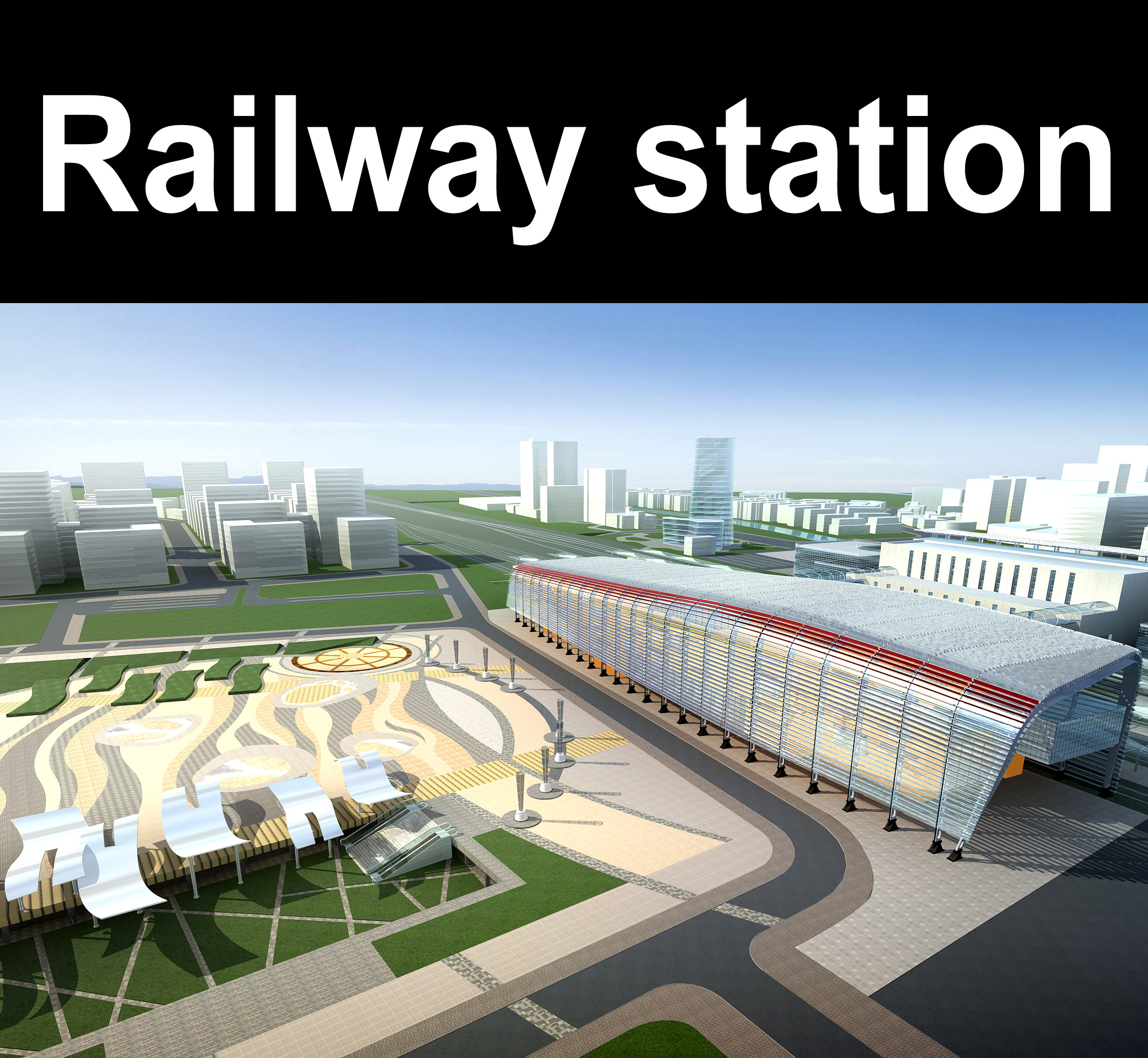 railway station 003 3d model 3ds 98201