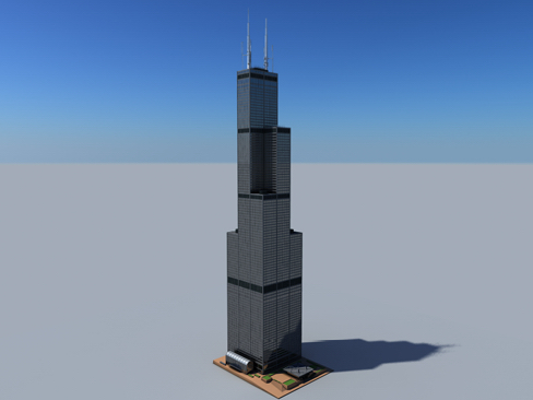 sears tower 3d model 3ds max obj 127876
