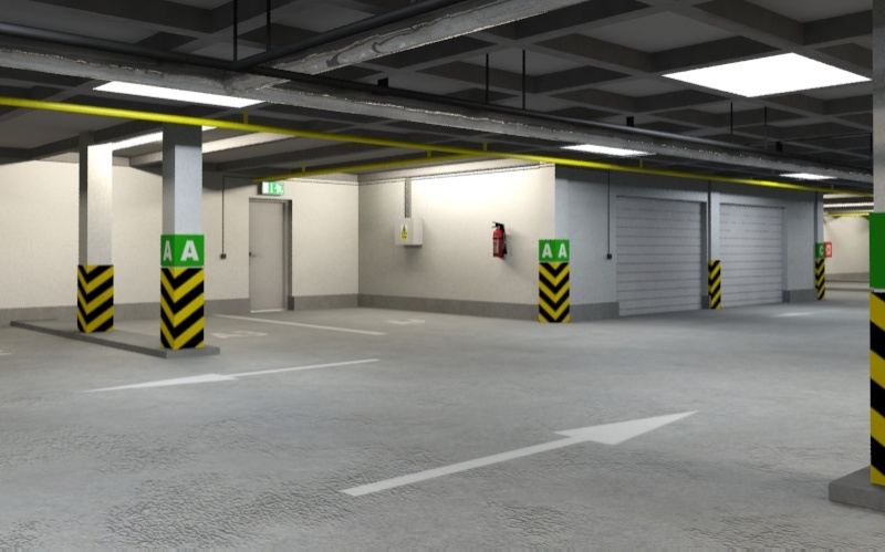 underground parking garage 01 3d model 3ds max fbx obj 130959