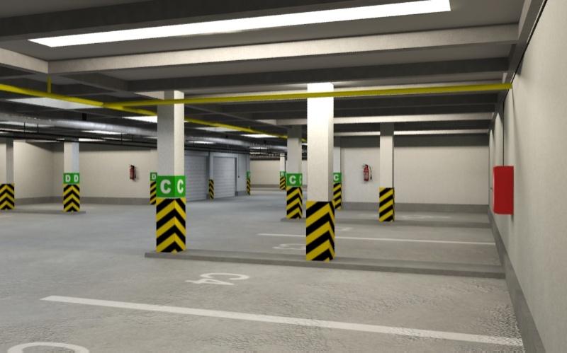 underground parking garage 01 3d model 3ds max fbx obj 130961