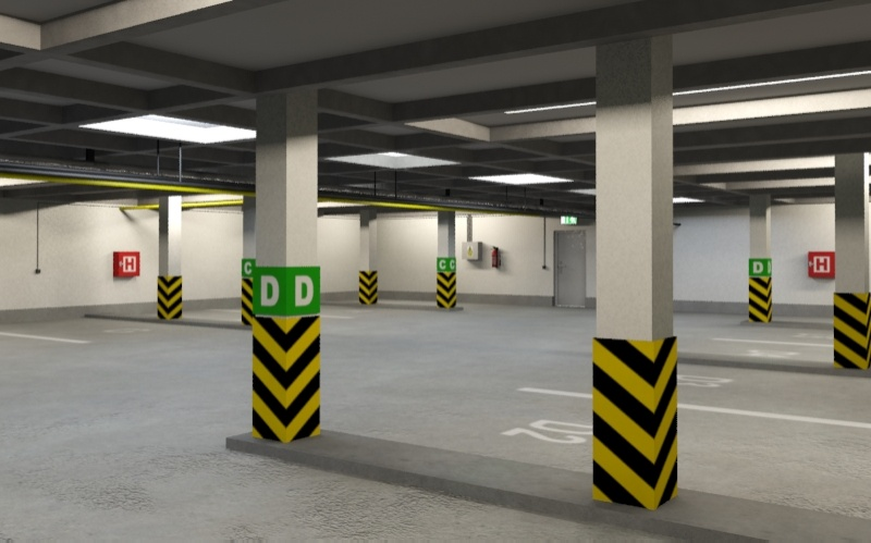 underground parking garage 01 3d model 3ds max fbx obj 130962
