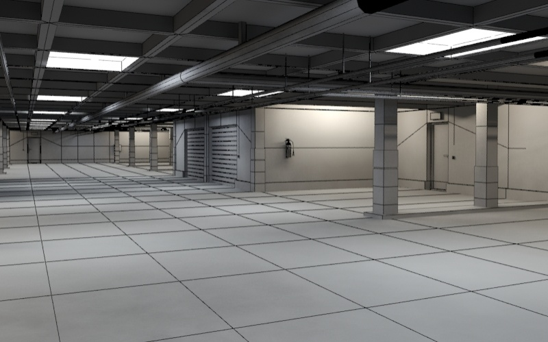 underground parking garage 01 3d model 3ds max fbx obj 130965