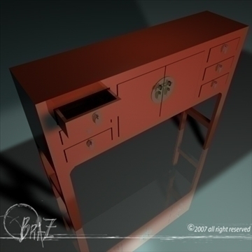 chinese cabinet 3d model 3ds dxf c4d obj 109176